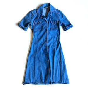 Sears Fashions Vintage Denim Button Down Dress